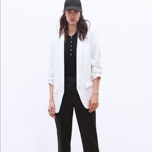 Zara white crepe blazer with rolled up sleeves XS